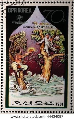 NORTH KOREA - CIRCA 1981: A stamp printed in North Korea shows a scene from a Korean fairy tale, series, circa 1981 - stock photo