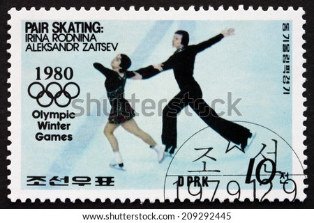 NORTH KOREA - CIRCA 1979: a stamp printed in North Korea shows Figure Skating, Irina Rodnina and Aleksandr Zaitsev, Winter Olympic Games, Lake Placid, circa 1979