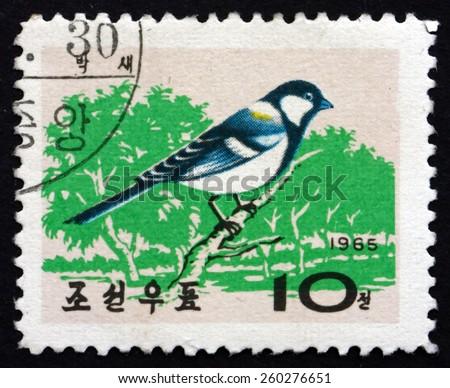 NORTH KOREA - CIRCA 1965: a stamp printed in North Korea shows Korean Great Tit, Parus Major, is Passerine Bird, circa 1965 - stock photo