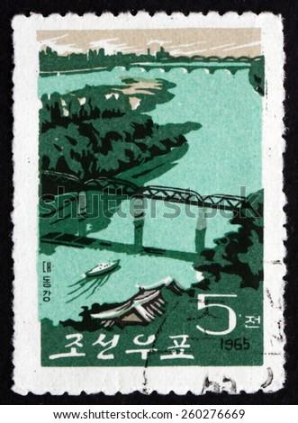 NORTH KOREA - CIRCA 1965: a stamp printed in North Korea shows Taedong River, circa 1965 - stock photo