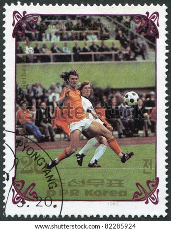 NORTH KOREA - CIRCA 1985: A stamp printed in North Korea, shows the final World Cup 1974, Netherlands - West Germany, circa 1985 - stock photo