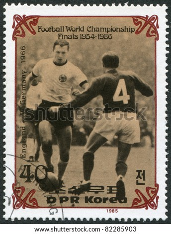 NORTH KOREA - CIRCA 1985: A stamp printed in North Korea, shows the final World Cup 1966, England - West Germany, circa 1985 - stock photo