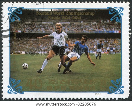 NORTH KOREA - CIRCA 1985: A stamp printed in North Korea, shows the final World Cup 1982, Italy - West Germany, circa 1985 - stock photo