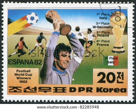 NORTH KOREA - CIRCA 1982: A stamp printed in North Korea shows the finalists of the World Cup, Spain-82, circa 1982