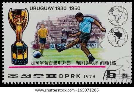 """NORTH KOREA - CIRCA 1978: A Stamp printed in NORTH KOREA shows the Uruguay world Cup champion (1930, 1950) from the series """"World Cup Winners"""", circa 1978 - stock photo"""