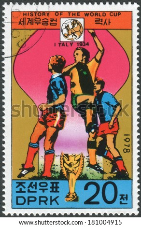 NORTH KOREA - CIRCA 1978: Postage stamp printed in North Korea, dedicated to World Cup Football, shows the FIFA World Cup in Italy 1934, circa 1978 - stock photo