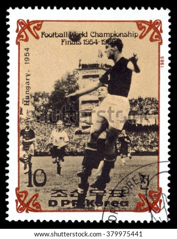 NORTH KOREA - CIRCA 1985: stamp printed by North Korea, shows World Cup Soccer 1954-1966, circa 1985.