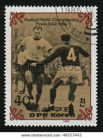 NORTH KOREA - CIRCA 1985: stamp printed by North Korea, shows World Cup Soccer 1954-1966, circa 1985. - stock photo