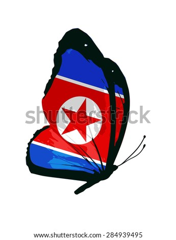 North Korea flag butterfly