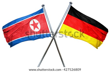 North Korea flag  combined with germany flag - stock photo