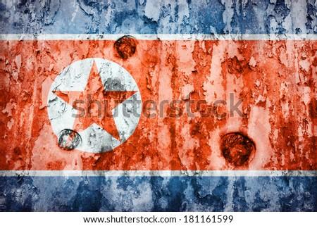 North Korea flag on a weathered grunge background - stock photo