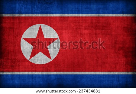 North Korea flag pattern ,retro vintage style - stock photo