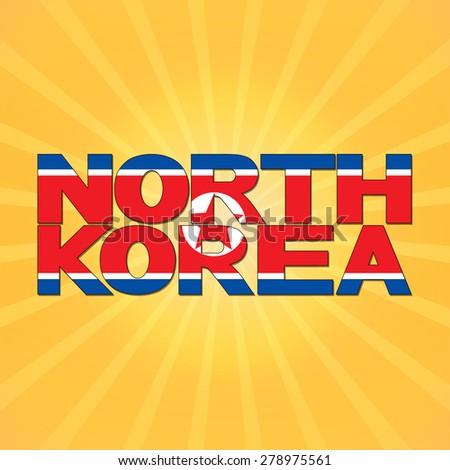 North Korea flag text with sunburst illustration - stock photo