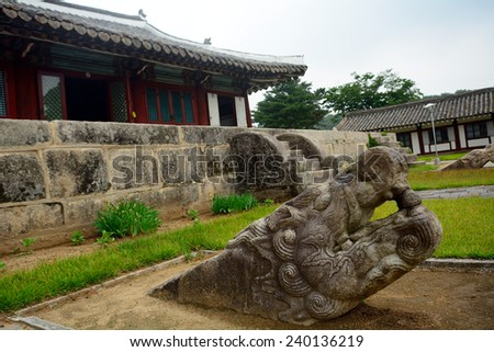 NORTH KOREA, KAESONG - JUNE 13: City Museum at June 13, 2014 in Kaesong, North Korea. Kaosung museum was was created at the site of an old Buddhist temple. - stock photo
