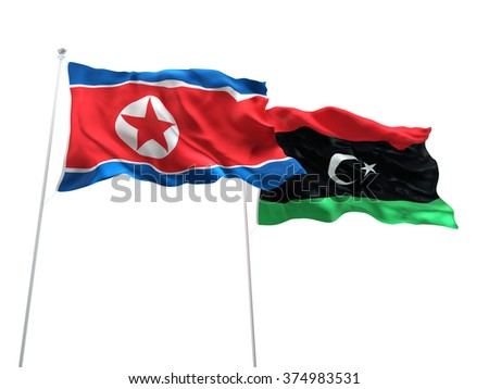 North Korea & Libya Flags are waving on the isolated white background - stock photo