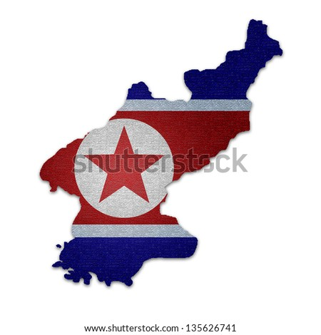 North Korea map on North Korea flag - stock photo