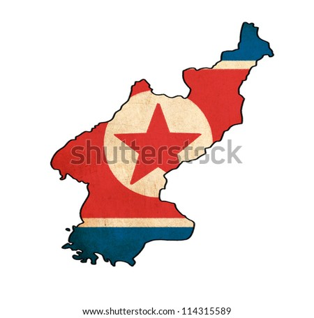 North Korea map on North Korea flag drawing ,grunge and retro flag series