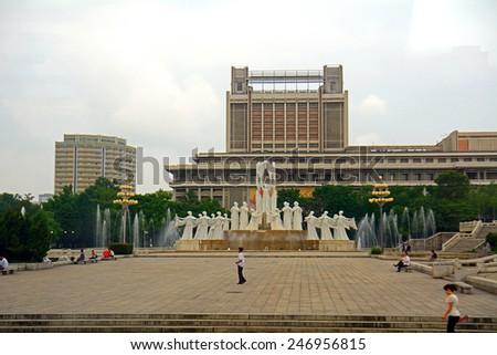 NORTH KOREA, PYONGYANG - JUNE 11: The Snow Dance Monument at June 11, 2014 in Pyongyang, North Korea. The Snow Dance Monument is one of the landmarks of Pyongyang. - stock photo