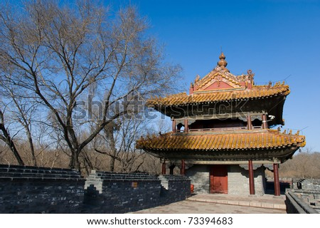 North mausoleum (Qing dynasty) Shenyang China, the wall and bell/drum tower.