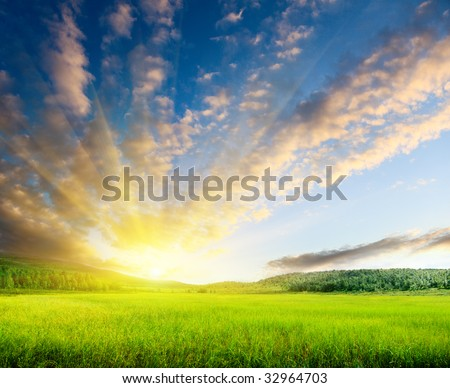 north mountains and sunset - stock photo