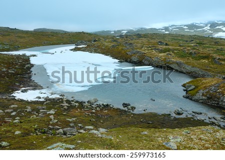 North Norway mountain spring tundra valley and small puddles - stock photo
