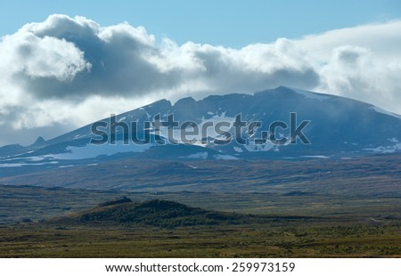 North  Norway mountain tundra valley and mountain in far - stock photo