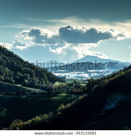 North of Italy: winter mountain panorama. - stock photo