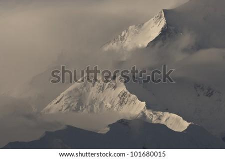 North Peak of Mt McKinley Summit, tallest mountain in North America, Denali National Park, Alaska - stock photo