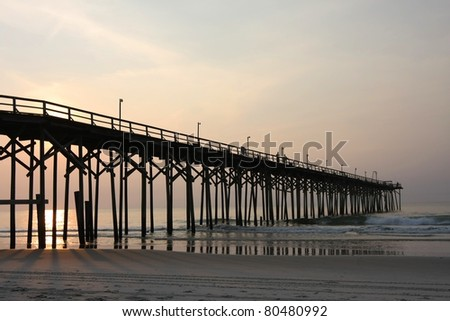 North Pier at Carolina Beach, NC - stock photo