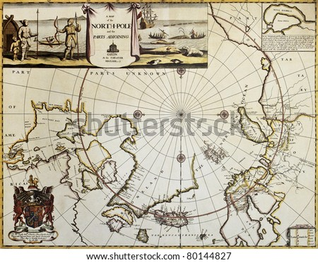 North Pole and adjoining lands old map. Created by Moses Pitt, published in Oxford, 1680 - stock photo