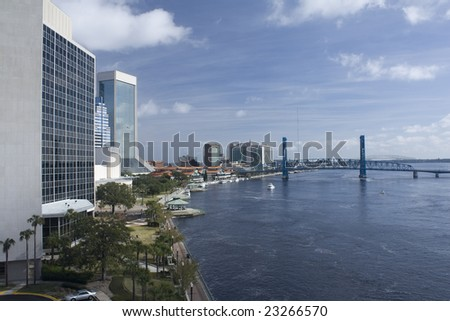 North riverbank of downtown Jacksonville, Florida - stock photo
