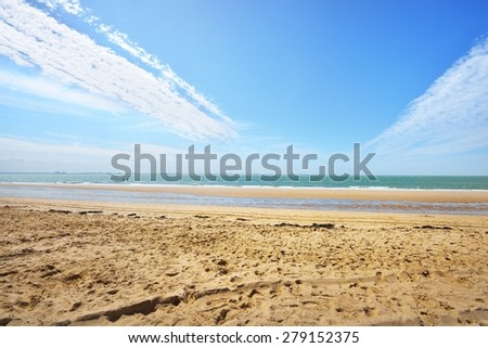North sea shore in Vlissingen, the Netherlands - stock photo