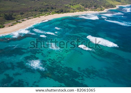 North Shore aerial of Oahu, Hawaii - Makuleia Beach - stock photo