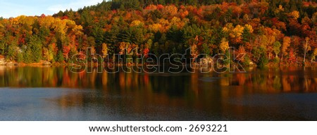 North shore of George Lake in October's day - stock photo