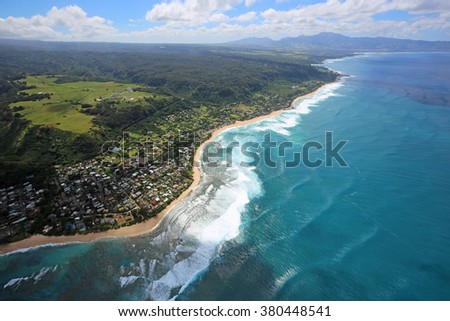 North Shore of Oahu - view from helicopter - Oahu, Hawaii - stock photo