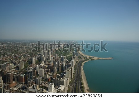 North side view from the Hancock tower observatory Chicago  - stock photo