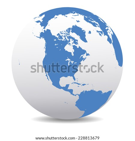 North, South, and Central AMERICA, Global World - Raster Version - stock photo