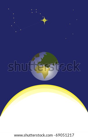 North star, earth, sun, casseopeia, big and little dipper. - stock photo