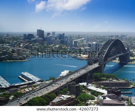 North Sydney city Australia harbor bridge the Rocks top view - stock photo