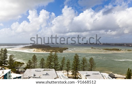 North tip of the Bribie Island seen from Caloundra in the Sunshine Coast, Australia.