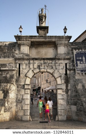 North town gate in Trogir, city in Croatia, who is under protection St John of Trogir - stock photo