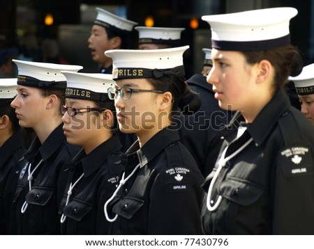 NORTH VANCOUVER - MAY 1: Royal Canadian Sea Cadets participates in the parade of the Naval and Maritime Forces of Canada on May 1, 2011 in North Vancouver, Canada