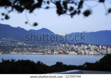 North Vancouver postcard view, from Canada Place - stock photo