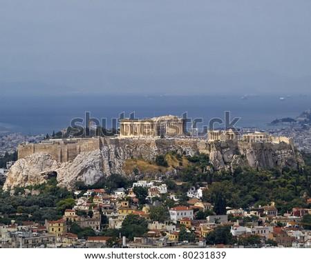 north view of Parthenon Acropolis Athens Greece - stock photo
