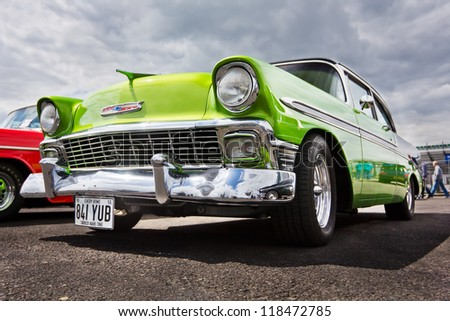 NORTHAMPTONSHIRE, UK- JULY 15: A 1956 Green Chevrolet Bel Air in a Show and Shine competition at the Dragstalgia event as Santa Pod Raceway July 15 2012 in NORTHAMPTONSHIRE - stock photo