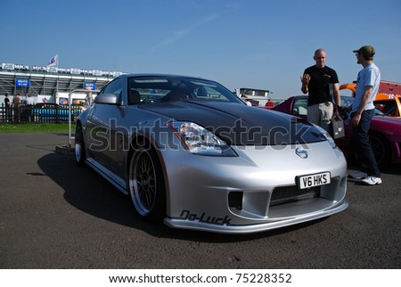 NORTHANTS, ENGLAND, MAY 11: Silver Nissan 350Z on Display at the Annual Rising Performance, Tuning, Modified on May 11, 2008 in Northants, England, UK.  Santa Pod is host to the show - stock photo