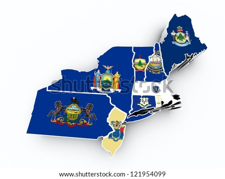 northeast region state flags on 3d map - stock photo