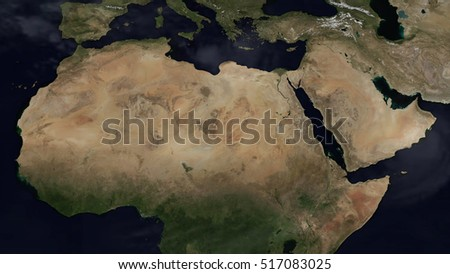 Northern Africa Day Map Space View (Elements of this image furnished by NASA)