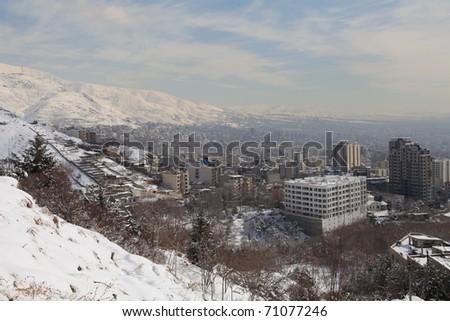 Northern area of Tehran city under snow - stock photo