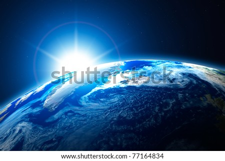 northern area of the Earth, the Arctic, with sun background - stock photo